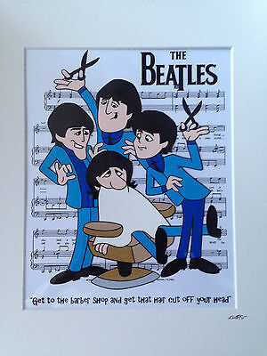 The Beatles - 1965 Cartoon - Barber Shop - Hand Drawn & Hand Painted Cel