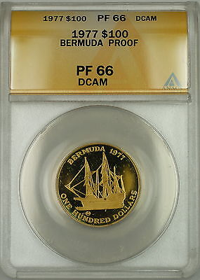 1977 Proof Bermuda $100 Dollar Gold Coin ANACS PF-66 DCAM Deep Cameo *GEM*