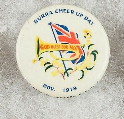 World War One Australia Burra Cheer Up Day Nov. 1918 Pinback Button Badge- RARE