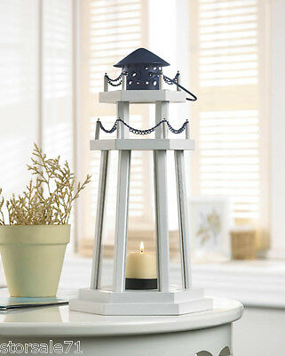 Nautical Crystal Wood Lookout Lighthouse Candle Lantern Floor Stand Holder Decor