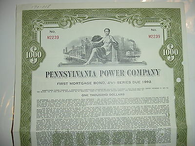 1962 Pennsylvania Power Company Bond Stock Certificate First Energy