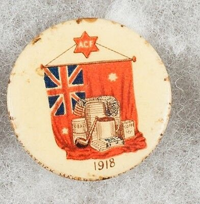 World War One Australian Comforts Fund ACF 1918 Pinback Button Badge - very rare
