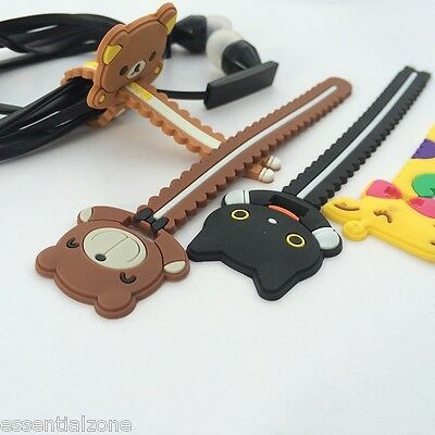 Cute Animals Cable Winder Head Phone Earphone Flexible Cord Organizer Set of 4