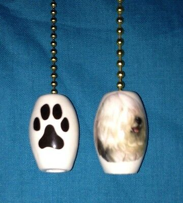 One Old English Sheepdog Dog Fan Pull With A Paw Print On The Back 1""