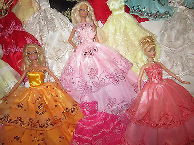 Lot of 8 Gorgeous Party Ball Gowns Wedding Dresses for Barbie Doll Mixed Lot A30