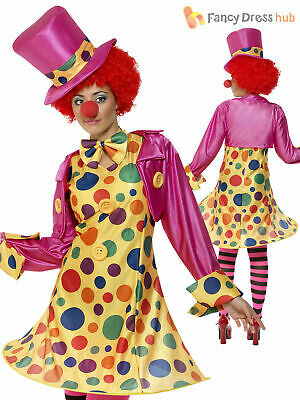 Ladies Circus Clown Costume Funny Comic Relief Polka Dot Women Fancy Dress