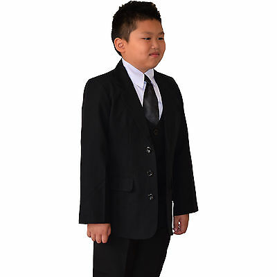 Quality 06 PCS 05 PCS Black Boy Suits Christening Formal Wedding Size 02-16