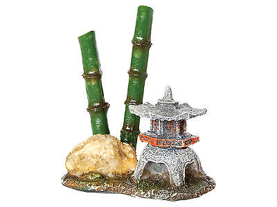 Pagoda with Bamboo Goldfish Bowl Aquarium Fish Tank Ornament Lantern Decoration