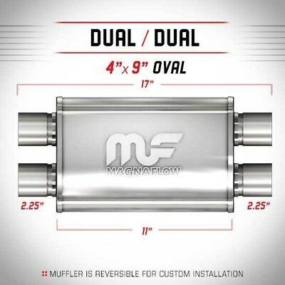 """2.25"""" ID 4x9 Oval 11"""" Satin Stainless Universal Magnaflow Exhaust Silencer 11378"""