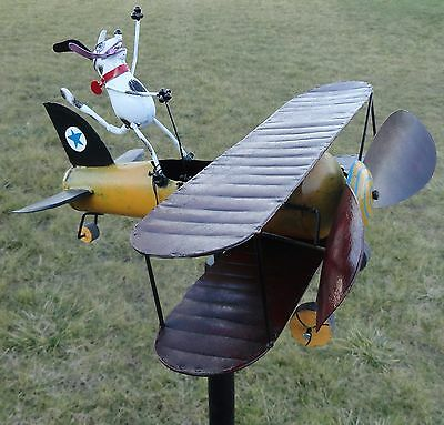 Aviator Spike Whirligig Airplane Dog Wind Powered Spinner Vintage Style Plane