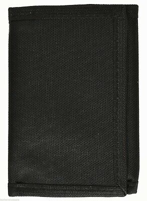 Kids Mens Solid Color Tri-Fold Nylon Wallet - Black