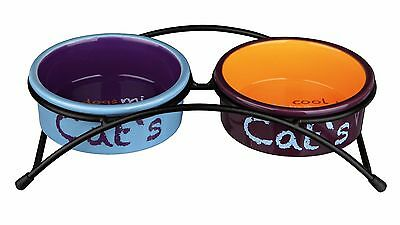 Eat on Feet Ceramic Bowl Set x2 Raised Feeding Drinking Cat Bowls 0.3ltr / 12cm