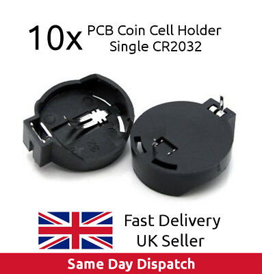 10 x PCB Coin Cell Holder Single CR2032 CR2025 CR2016 Battery - UK Fast Delivery