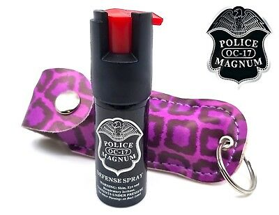 Police Magnum pepper spray 1/2oz Purple Leopard Keychain Security Protection
