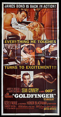 GOLDFINGER * CineMasterpieces THREE 3 SHEET 1964 MOVIE POSTER JAMES BOND GOLD