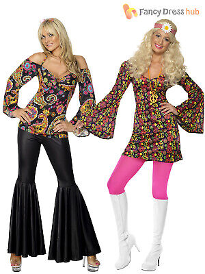 Ladies Hippy Fancy Dress Costume Hippie Womens 1970s 60's Outfit Top Flares