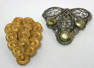 Antique Victorian Fur, Dress & Scarf Clips - One Brass & One Open Metal Work