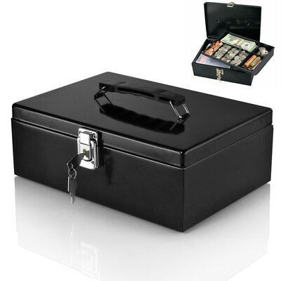 Cash Box Locking Latch with 7-Compartment Tray Cashier Drawer Money Bills Safe