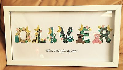 Personalised Large Name Framed  wall print  ANY NAME/TEXT Great Gift Idea