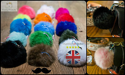 3 FOR 2! 8cm Girls Big Soft PomPom Charm Rabbit Hair Ball Accessory Kids Keyring