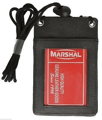 BLACK - Neck - LEATHER ID HOLDER CARD POUCH WALLET MARSHAL!!!