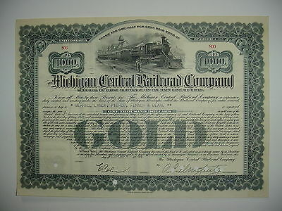$1,000 Michigan Central Railroad Company Bond Stock Certificate 1940's Train