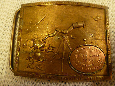 Rare - Solid Brass -  1933 - Mickey Mouse Award Of Merit Buckle