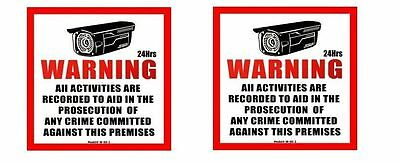 2pcs Surveillance Plastic Sign CCTV Warning Security Audio Video Camera