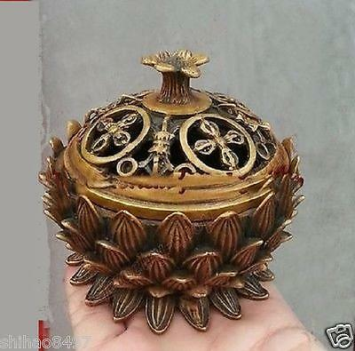 chinese Collection Ancient brass Lotus Statues precious Lucky Incense Burner