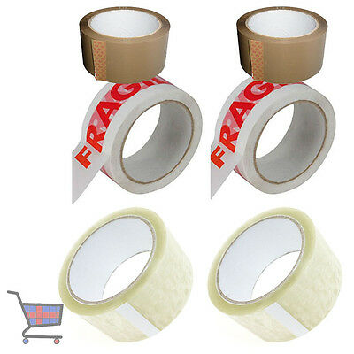 6 X ROLLS OF TAPES FOR SEALING BOXES 2 X BROWN 2 X CLEAR 2 X FRAGILE 48mmx66m