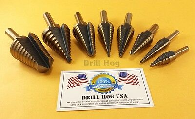 Drill Hog USA Step Drill Bit Set M7 Molybdenum Step Bit UNIBIT Lifetime Warranty