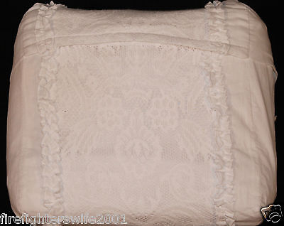 Simply Shabby Chic Pieced Lace Mesh F/Q Duvet Cover Set 3 pc White nwot