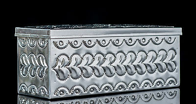 TIN BOX WITH DIVISIONS FOR TEA BAGS DECORATED w FLOWERS CHROMED REPOUSEE TA136