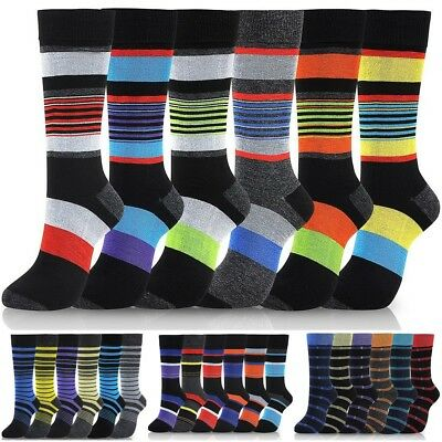Lot of 6 Pairs New Cotton Men Striped Style Dress Socks Size 10-13 Multi Colors