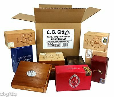 10pc. Lot Small All-wood Cigar Boxes - for Wedding Favors, Banks, Crafts & More