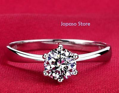 Silver Plated 1 Carat 6mm Cubic Zirconia Crystal Wedding Engagement Ring R006