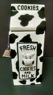 FANTASTIC MILK CARTON/COW COOKIE JAR WITH COW BELL