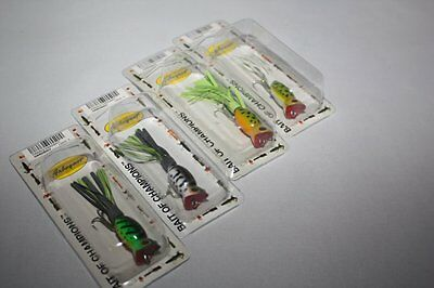 FRED ARBOGAST SMALL HULA POPPERS LOT 4 NEW FROG TOP WATER BASS FISHING LURES