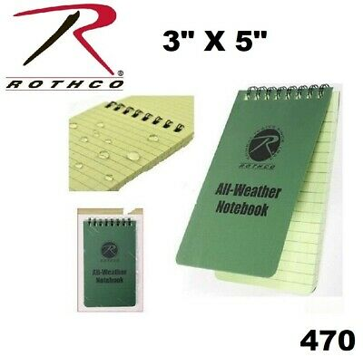 "Military Olive Drab Green All Weather Waterproof Notebook 3"" x 5"" 470"