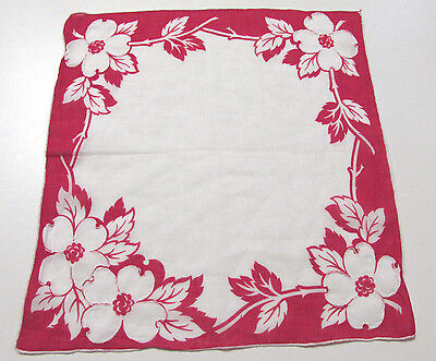 VINTAGE 1950s HANDKERCHIEF RED WHITE FLOWERS COTTON EMBROIDERED TRIM