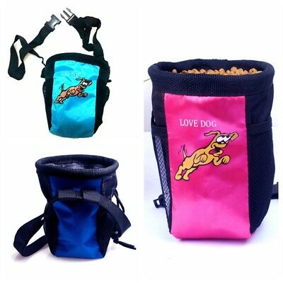 Dog pet Training Treat Bag Feed Pouch w. belt & side pockets f. Mobile phone