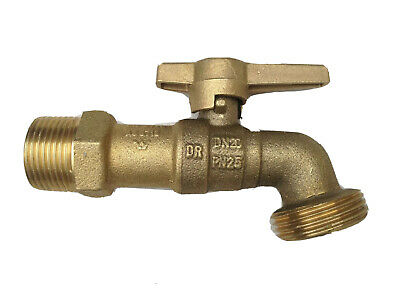 15mm Brass Garden Tap Brass Ball Cock with Brass T Lever Handle Garden Tap 1/2