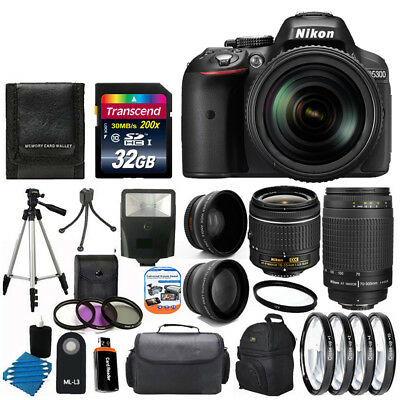 Nikon D5300 Digital SLR Camera +8 Lens 18-55mm VR 70-300mm +Flash +32GB Top Kit