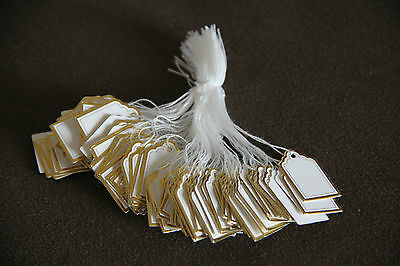 500 White Paper String Price Tag Tie Golden Border Label Jewellery Watch Display