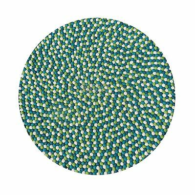 Green 100cm Handmade 100% Wool Colorful Freckle Round Felt Ball Rug Home Decor