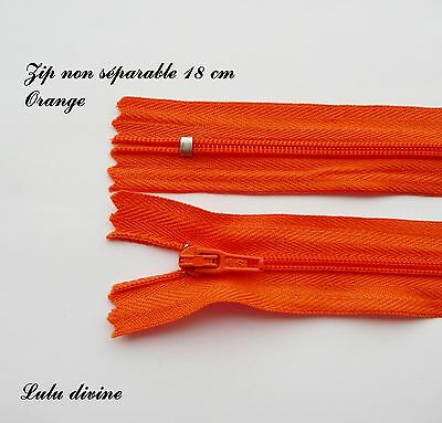 Zip/ Fermeture éclair simple non séparable de 18 cm, Couleur Orange