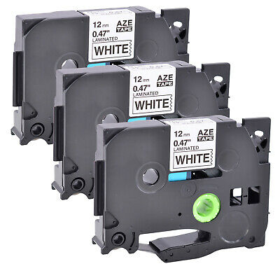 3 Pack Black on White Label Tape P-Touch Compatible for Brother TZ 231 TZe 231