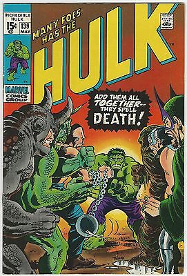 Incredible Hulk #139 Grade 9.0 Vf/nm Wp Blob Rhino & Mandarin App (Id 3431)