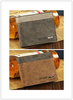 Leather Bifold Wallet ID Business Credit Card Holder Purse Clutch Pockets Mens