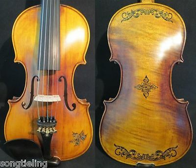 Copy Old Finishes Strad style SONG maestro inlaid 5strings violin 4/4 #10126